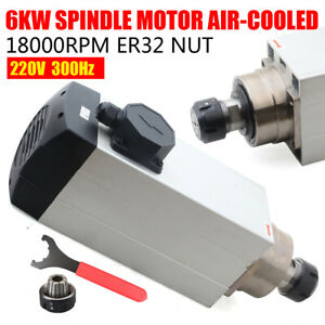 6000w Spindle Motor Air Cooled Cnc Router Mill Machine Engraving Grinding Er32