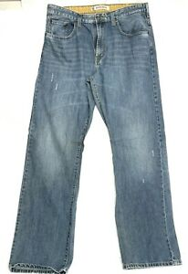 Men#x27;s LEE Relaxed Boot Cut DISTRESSED Ripped Faded Frayed Slim Jeans 34 X 34 $19.99