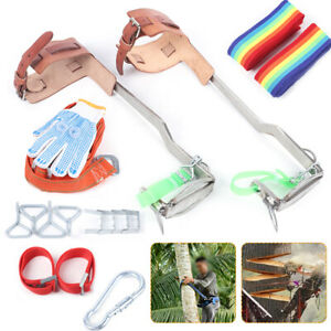 Stainless Steel Tree Climbing Spike Set Safety Belt Gear 440lb With Pair Gloves