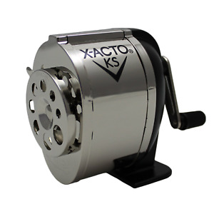 Manual Pencil Sharpener Dual Wall Mount Helical Cutters Adjustable Silver Black