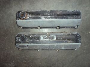 Ford 429 460 Holley Mickey Thompson Finned Aluminum Valve Covers Vintage