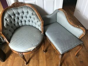 Two Antique Vintage Carved Solid Wood Button Tufted Accent Swivel Chaise Chair