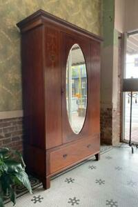 Wardrobe Antique English Inlaid With Oval Beveled Mirror