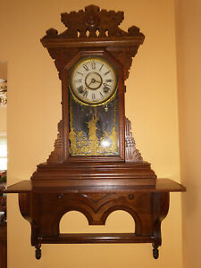 Awesome Victorian Carved Finials Black Walnut Collectable Clock Shelf Restored