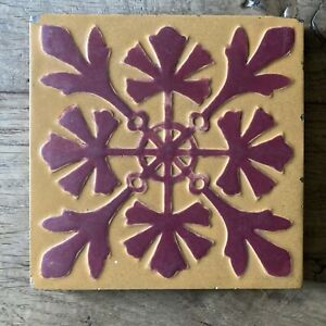 Antique Moulded Tile By Maw Co Approx 150mm Square 12mm Depth 17