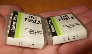New Fuses Sfe20 Lot Of 10 Fuse Littelfuse 2 Packs Of 5 Sfe 20 20a 20 amp