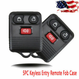 5piece 3 Button Fob Keyless Key Replace Remote Control Cover For Ford Shell Case