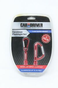 Car And Driver Carabiner Flashlight Set 1 Led 10 Lumens Water Impact Resistant