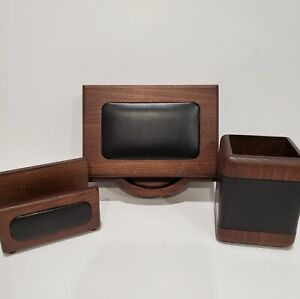 Open Box Walnut And Leather Memo Holder Business Card Pencil Cup Dacasso
