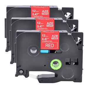 3pk Compatible With Brother P touch Tz 435 White On Red 0 47 Label Tape 12mm
