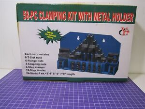 58 Piece Machining Clamping Kit With Metal plastic Holder New