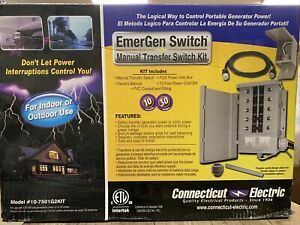 Connecticut Electric 30 amp 8 space 10 circuits G2 Manual Transfer Switch Kit