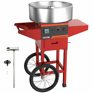Red Sugar Floss Maker Carnival Commercial Electric Cotton Candy Machine W Cart