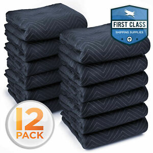 Ultra Thick Pro Moving Blankets Furniture Pads 12 Pack dozen 72 X 80 65 Lbs