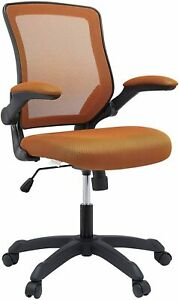 Modway Veer Office Chair Mesh Back Vinyl Seat Flip up Arms Tan Fabric