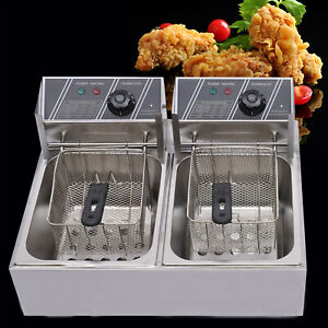 2tank 12l Electric Deep Fryer Commercial Countertop Basket French Fry Restaurant