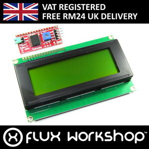 20x4 Green Lcd With Funduino I2c Interface Mb 063 2004a Hd44780 Flux Workshop