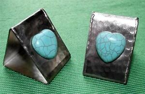 Pair Of Arts Crafts Deco Valentine Turquoise Cabochon Heart Napkin Rings