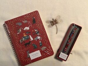 Vera Bradley Mini Notebook And Ballpoint Pen Set In Holiday Cats 2021 X63