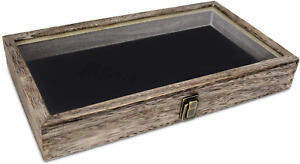 Wood Glass Top Jewelry Display Case Wooden Jewelry Tray For Collectibles Coffee