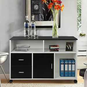 Us File Cabinet Wooden Mobile Office Storage Shelf Organizers W 2 Drawers Wheel
