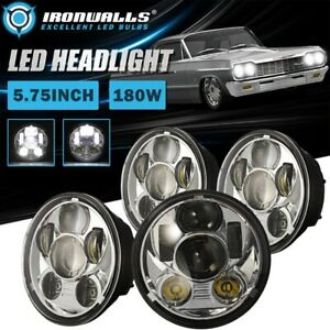 For Chevy Caprice Impala Chevelle 4pcs 5 75 Led Headlights Chrome High Low Beam