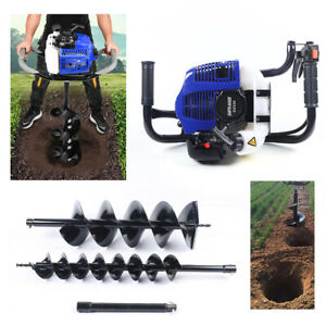 52cc Gas Powered Earth Auger Post Hole Digger Borer Fence Ground 4 8 Drill Bit