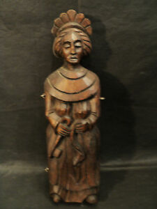 Rare Antique Carved Wooden Figural Hanging Key Box
