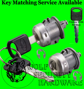 Ford Lincoln Pair Of Two 2 Door Key Lock Cylinders With 3 Ford Logo Keys