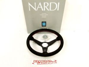Nardi 350mm Steering Wheel Deep Corn Suede Red Stitch