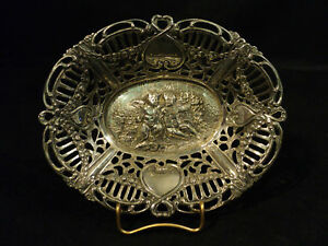 Fabulous Small Sterling Silver Chased Dish W Cherubs