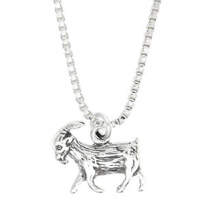 Sterling Silver Livestock Farmer s Goat Charm With Box Chain Necklace