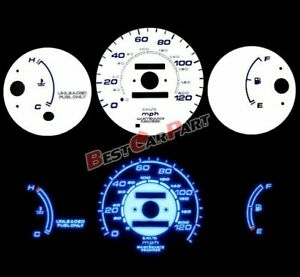 White 96 00 Civic Mt W O Tach Blue Indiglo Glow Reverse Gauges