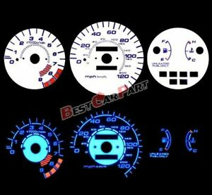 White 92 95 Civic Lx Ex Si Mt Blue Indiglo Glow Reverse Gauges