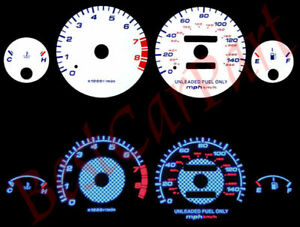 White 94 01 Acura Integra Rs Gs Ls Mt Blue Indiglo Glow Reverse Gauges