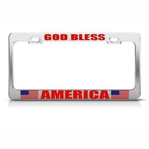 American God Bless America Country Metal License Plate Frame Tag Holder