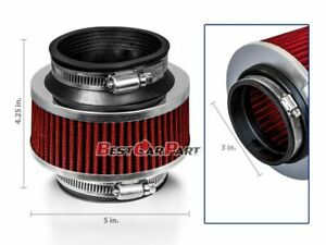 3 Inches Cold Air Intake Bypass Valve Filter 76mm Red For Hyundai
