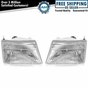 Headlights Headlamps Left Right Pair Set For 98 00 Ford Ranger Pickup Truck
