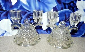 Lovely Pair Of Double Glass Candlesticks Clear And Bright