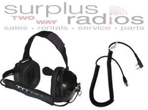 Titan Dual Muff Racing Headset For Kenwood Radio Tk2160 Tk3160 Tk2170 Tk3170