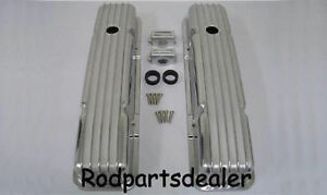 Small Block Chevy Nostalgia Finned Tall Valve Covers Hot Rod 305 350 400 Vintage