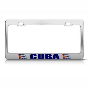Cuba Cuban Flag Country License Plate Frame Stainless Metal Tag Holder
