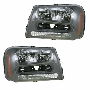 Headlights Headlamps Left Right Pair Set For 02 09 Chevy Trailblazer
