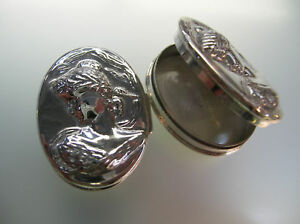 Sterling Silver Oval Pill Box Lady Face Vintage Style