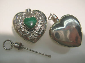 Sterling Silver Heart Shape Perfume Bottle Vintage Engraving Design W Malachite
