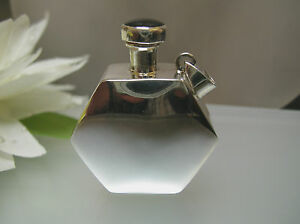 Sterling Silver Hexagon Shape Perfume Bottle Vintage Style W Bail