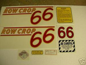 Oliver 66 Row Crop Tractor Decal Set Red Numbers New Free Shipping