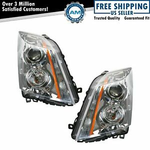Halogen Headlights Headlamps Left Right Pair Set For 08 14 Cadillac Cts