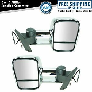 Towing Mirrors Chrome Manual Turn Signal Side View Pair Set For Silverado Sierra