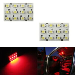 2 X Brilliant Red 12 Smd Led Panel Lights For Interior Map Dome Door Trunk Light